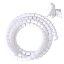 White Spiral Wrapping Band Cable Manager 1.5M Tube Tidy Management NEW