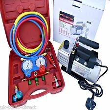 AC Refrigeration Kit A/C Manifold Gauge Air Vacuum Pump HVAC Combo 3CFM ¼ HP