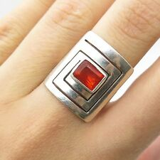 925 Sterling Silver Real Fire Opal Gemstone Wide Modernist Ring Size 6.5