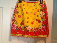 Women's boston trader yellow pink red floral Print SKIRT with beaded trim size 6