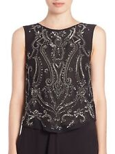 NWT $495 HAUTE HIPPIE Paisley Embellished Black Silk Tank Top Blouse - S Small