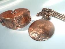 Huge Vintage Copper Siam Dancer Necklace and Bracelet Set in Gift Box