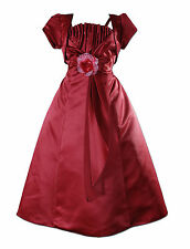 New Burgundy Satin Bridesmaid Flower Girls Pageant Dress with Bolero 5-6 Years