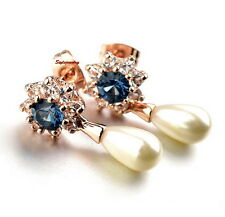 Rose Gold Filled Blue Swarovski Crystal Flower White Pearl Teardrop Earring IE3