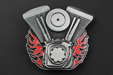 FLAMING V TWIN MOTORCYCLE ENGINES BIKE BIKER BELT BUCKLE METAL