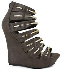 """Womens-Size-12-M-Shoes-Brown-5""""-Wedge-Heel-Open-Toe-Zip-Back-Synthetic-Gold-Trim"""