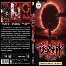 DVD  Berserk The Golden Age Arc Movie 1 2 3 I II III Complete Collection