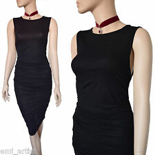 DOLCE & GABBANA MAIN LINE black jersey ruched bodycon DRESS size 10 6 42 D&G
