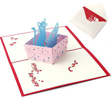 3D Pop UP Holiday Greeting Card Cat  Animal Christmas Thanksgiving Birthday Gift