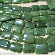 "Canadian Nephrite Green Jade 13x18mm Rectangle Beads 15.5"" Genuine Stone"