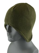 Mens Winter Earflap Fleece Lined Helmet Beanie Skull Adult Size Plain Hat -Green