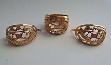Russian Vintage USSR Rose Gold Set Filigree style Ring and Earring 14K 585