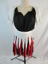 Pirate Dress Costume w/Tights - Red/Black/Red - Girl's Large