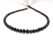 AAA Black Spinel Faceted Rondelle Semi Precious Gemstone Beads 3-6mm. (33PCS)