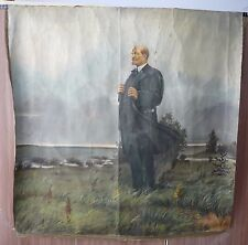 Old Big Russian Soviet Painting oil Canvas LENIN Outdoors USSR 1970s