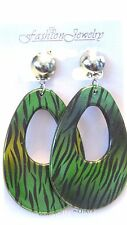 CLIP-ON EARRINGS zebra print assorted colors TEARDROP HOOP EARRINGS 3 INCH L
