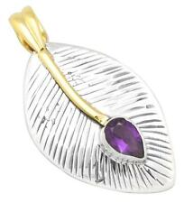 Natural Amethyst Two Tone Pendant Solid 925 Silver Brass Jewelry IP29298