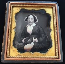WOMAN LACE GLOVES COLLAR BONNET JEWELRY BROOCH 1/6 CASE DAGUERREOTYPE PHOTO D130