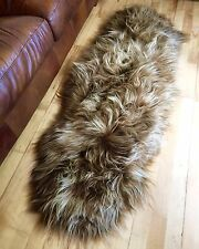 XXL Large Genuine Icelandic Caramel Honey Brown Sheepskin Sheep Fur Double Rug