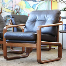 FRESH VINTAGE MID CENTURY MODERN TEAK & LEATHER EASY CHAIR SESSEL WEGNER PANTON