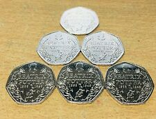 6 X Beatrix Potter 150th Anniversary 50p Fifty Pence coins 2016 - Free Postage