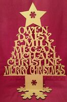 Christmas Family Upto 6 Name Tree Shape Decoration 40cm Tall Mdf Wood Wooden
