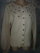 SLEEPING ON SNOW ANTHROPOLOGIE OFF WHITE BEADED CARDIGAN SWEATER L
