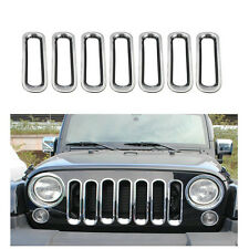 ABS Chrome Front Grille Insert Hole Cover Trim For Jeep JK Wrangler 2007-2017