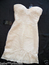 $200 NWT Bebe beige bodycon mesh ruffle strapless embellished top dress S small