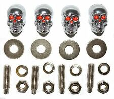4 Chrome Skull - Metal License Plate Frame Bolts - Motorcycle Lic Tag Fastener