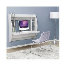 Floating Wall Mounted Desk White Computer Wood Office Small Hanging Space Saving