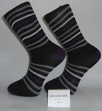 Black Socks with Purple Heel and Toes and Grey, Purple and White Stripes