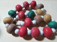 "VINTAGE 20"" chunky multi colored wooden beaded necklace"