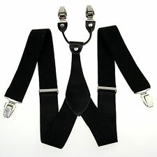 "1.4"" in Width Mens Adjustable Black Solid braces Clip on Suspenders Womens BD605"