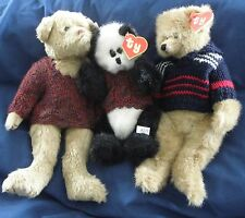 A59 TY Attic Treasures 2nd gen hand tag panda bear Checkers, Malcolm & Tyler