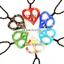 Wholesale Lots 6Pcs leaf Murano Glass Pendants Braided rope charm Necklaces FREE