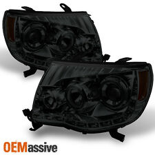 05-11 Toyota Tacoma Smoked Lens Dual Halo Projector LED Headlights Left+Right