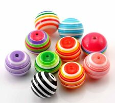 Large 20 Striped 20mm Randum Mixed Acrylic Beads 2mm Hole