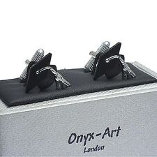 Graduation Gift - Mortar Board Mortarboard Cufflinks by Onyx Art