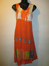 Dress Fits L XL 1X  Sundress Beach Cover Orange  Tie Dye V Neck Jumper NWT 133