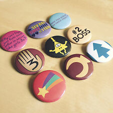Gravity Falls Button Set - Mabel Dipper Pines Grunkle Stan Bill Cypher Handmade