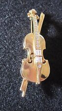 Retired-Swarovski Signed Crystal 18k Gold Plated-Violin-Cello Beautiful