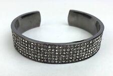 Lisa Freede New $85 Cigar Band Cuff Bracelet Gunmetal w/ Crystals