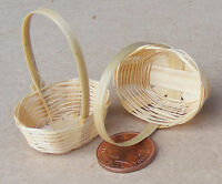 1:12 Scale 2 Handmade Bamboo Baskets Dolls House Miniature Shop Accessory (L)