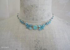 Vintage Danish PILGRIM Necklace ENCHANTED FLOWER Aqua Blue Pearl Swarovski BNWT