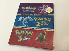 SEALED Pokemon: Limited Edition BluRay Movies 1 2 3 Steelbook Case +FREE US SHIP