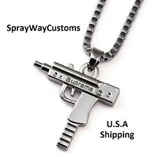 Supreme Uzi Machine Gun Pendant Necklace Chain Silver Plated Hip Hop Box Logo