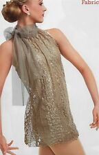 Breathless Gold Ballet Lyrical Dance Dress Tunic Curtain Call Costume LRG Adult