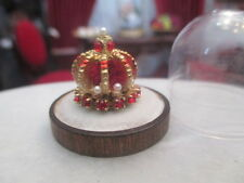 Dollhouse Miniatures Terrific Handcrafted Queen's Crown w/ Jewels ~ Red & Gold