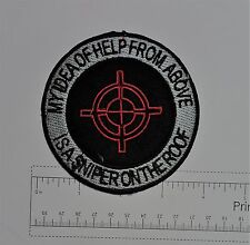 Sniper on the Roof - Club Harley Biker Funny Motorcycle Iron On Small Patch